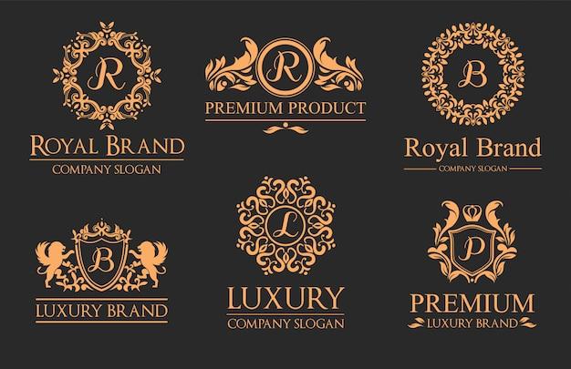 Conjunto de logotipos de luxo