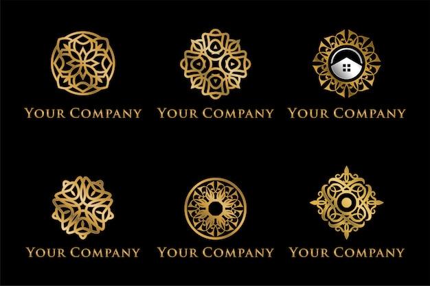 Conjunto de logotipos de mandala de luxo