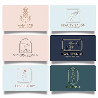 Conjunto de logotipos de mão feminina premium