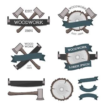 Conjunto de logotipos de marcenaria com serra, machado e anel de árvore