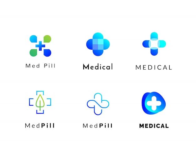 Conjunto de logotipos de médicos e farmácia
