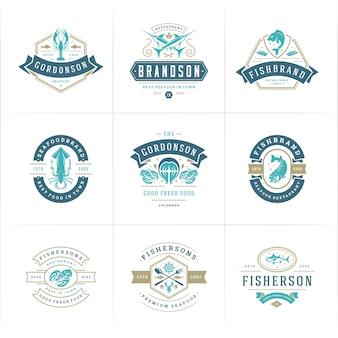Conjunto de logotipos de mercado de peixes e restaurantes