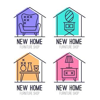 Conjunto de logotipos de mobiliário minimalista