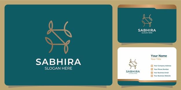 Conjunto de logotipos de modelo de letra s femininos para beleza desenhada à mão e cartões de visita