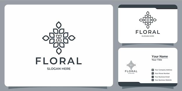 Conjunto de logotipos de modelos florais femininos e modernos desenhados à mão e cartões de visita
