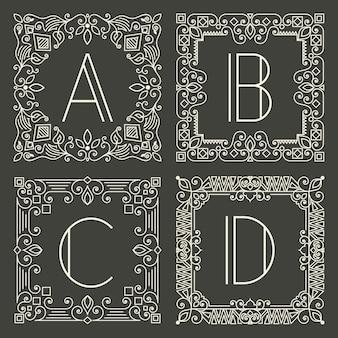 Conjunto de logotipos de monograma floral e geométrico com letra maiúscula no fundo cinzento escuro.