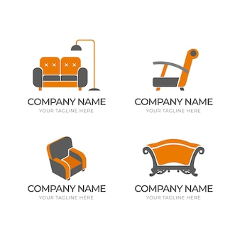 Conjunto de logotipos de móveis minimalistas