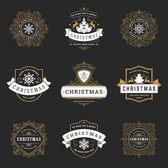 Conjunto de logotipos de natal, emblema, distintivo. decoração de ornamentos vintage.