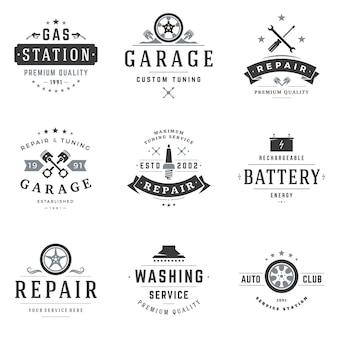 Conjunto de logotipos de oficina mecânica.
