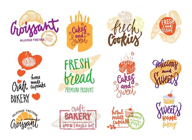 Conjunto de logotipos de padaria desenhados à mão