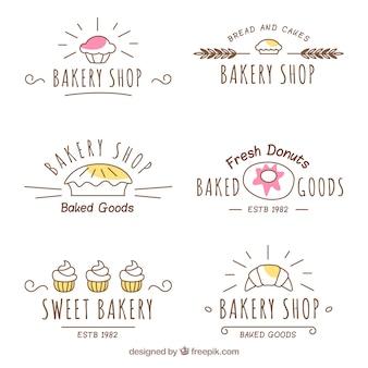 Conjunto de logotipos de padaria em estilo desenhado a mão