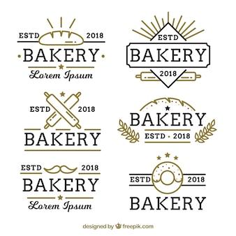 Conjunto de logotipos de padaria em estilo simples