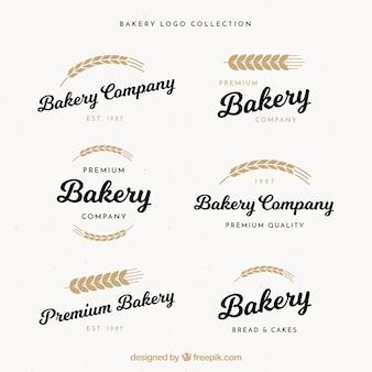 Conjunto de logotipos de padaria em estilo vintage