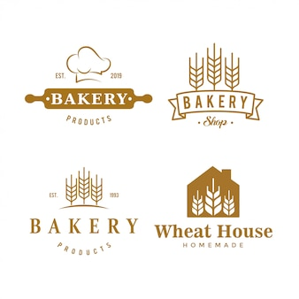 Conjunto de logotipos de padaria vintage, etiquetas e emblemas