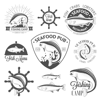 Conjunto de logotipos de peixe vintage com leme