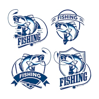 Conjunto de logotipos de pesca