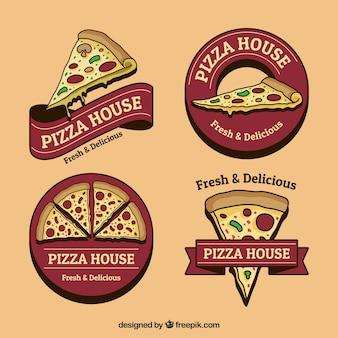 Conjunto de logotipos de pizza desenhados à mão em estilo vintage