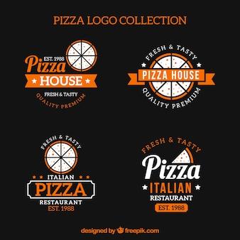 Conjunto de logotipos de pizza vintage