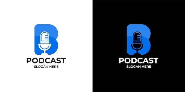 Conjunto de logotipos de podcast com as iniciais a letra b