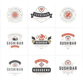Conjunto de logotipos de restaurantes de sushi