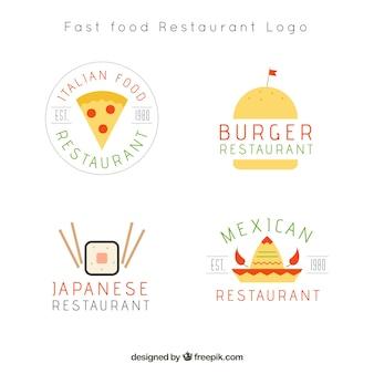 Conjunto de logotipos de restaurantes em estilo retro
