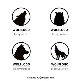 Conjunto de logotipos de silhueta de lobo