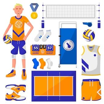 Conjunto de logotipos de símbolos e ícones de voleibol.