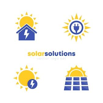 Conjunto de logotipos de soluções de energia solar