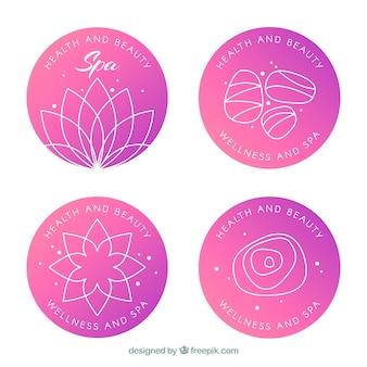 Conjunto de logotipos de spa em estilo simples