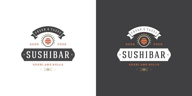 Conjunto de logotipos de sushi e restaurante japonês
