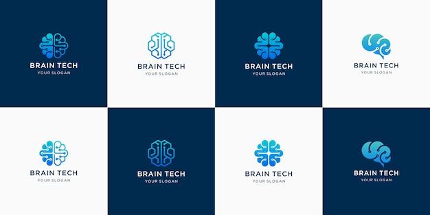 Conjunto de logotipos de tecnologia cerebral para inspiração
