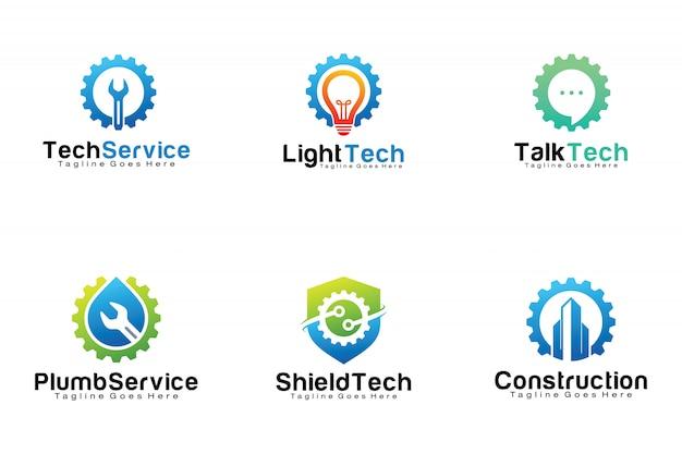 Conjunto de logotipos de tecnologia de engrenagem