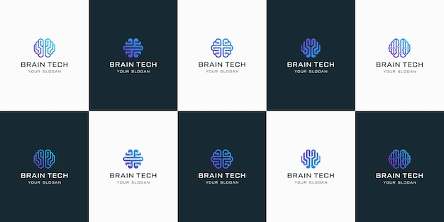 Conjunto de logotipos de tecnologia do cérebro, para inspiração de design.