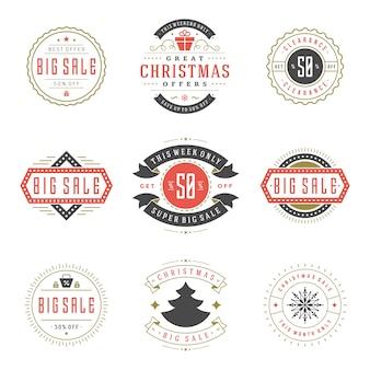 Conjunto de logotipos de vendas de natal