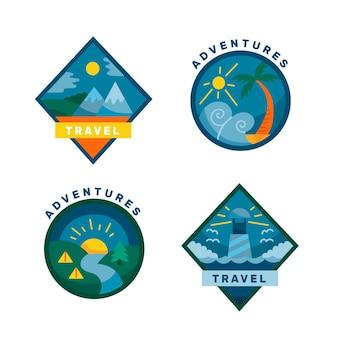 Conjunto de logotipos de viagens diferentes