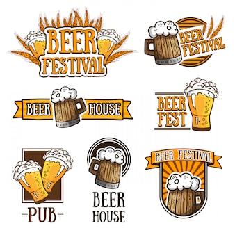 Conjunto de logotipos diferentes de cerveja