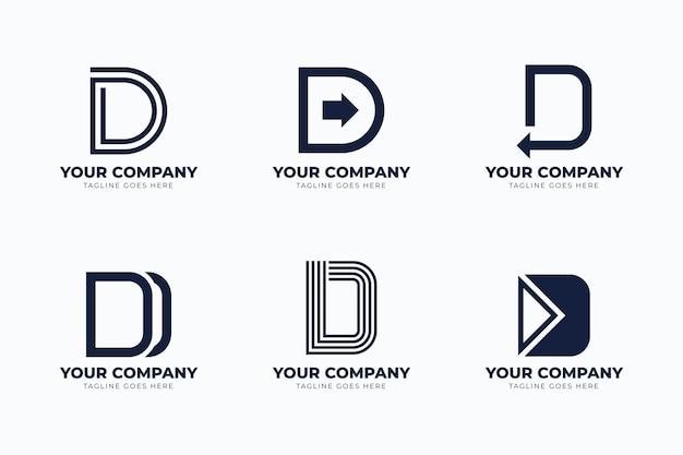 Conjunto de logotipos diferentes de design plano