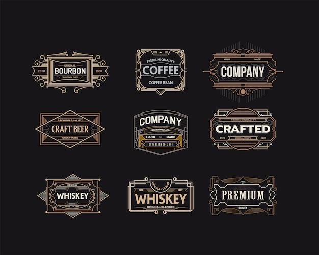 Conjunto de logotipos distintivos decorativos elegantes