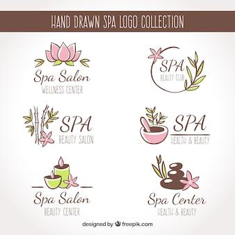 Conjunto de logotipos do centro de spa em estilo simples