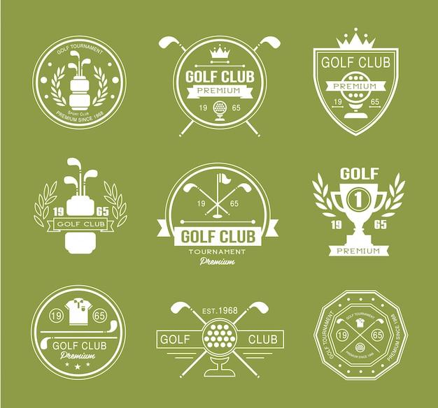 Conjunto de logotipos do clube de golfe, etiquetas e emblemas