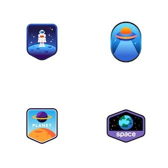 Conjunto de logotipos do espaço