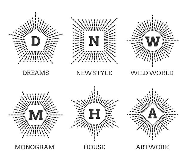 Conjunto de logotipos do monograma. forma de hexágono de pentágono de círculo quadrado estrela.