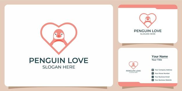 Conjunto de logotipos e cartões de visita minimalistas de pinguins