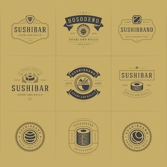 Conjunto de logotipos e emblemas de restaurantes de sushi