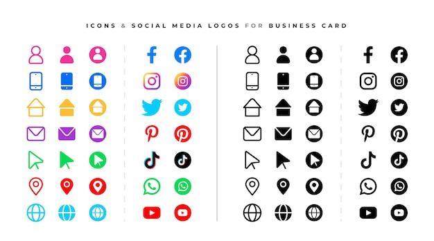 Conjunto de logotipos e ícones de mídia social