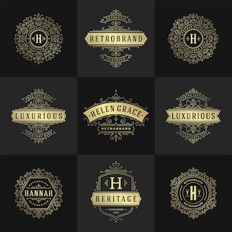 Conjunto de logotipos e monogramas vintage