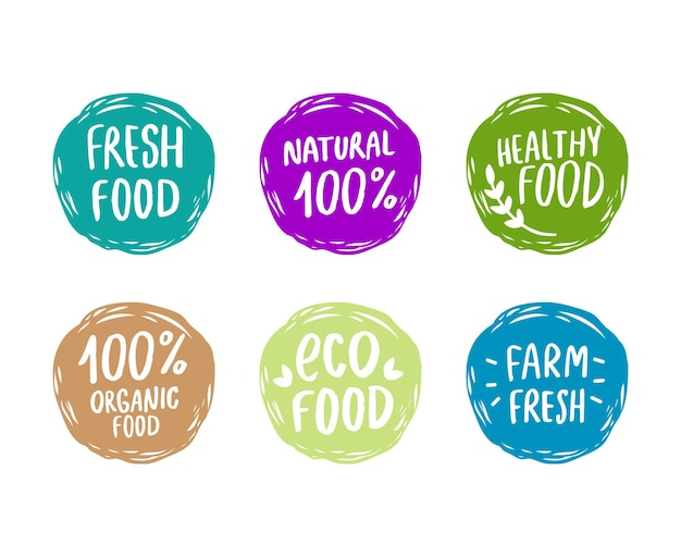 Conjunto de logotipos ecológicos desenhados à mão