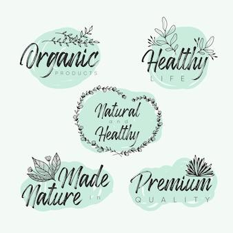 Conjunto de logotipos elegantes de cosméticos naturais