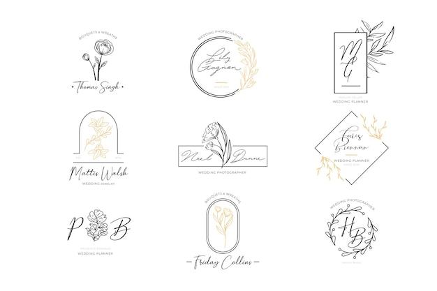 Conjunto de logotipos elegantes florais