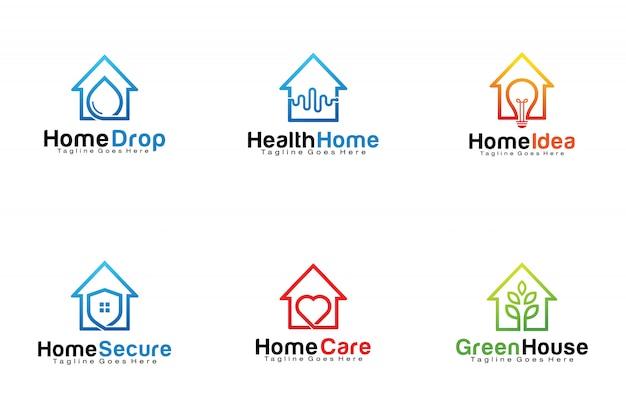 Conjunto de logotipos em casa